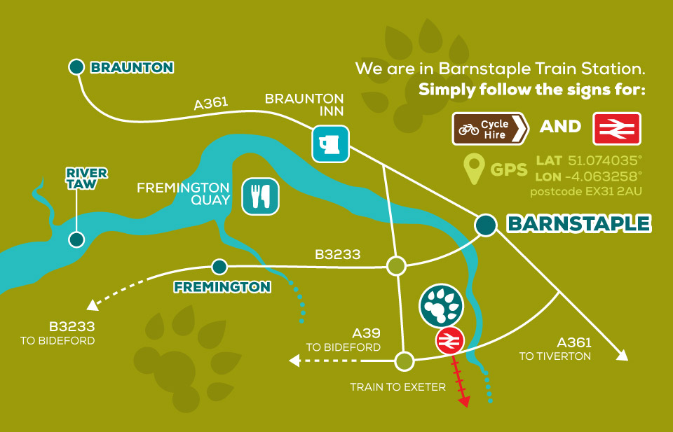 Tarka Trail Cycle Hire location map